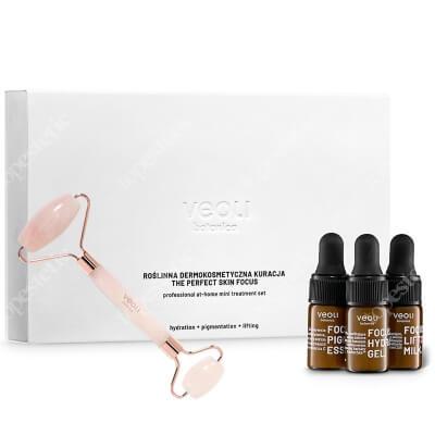 Veoli Botanica A Rolling Stone + Mini Trio ZESTAW Masażer do twarzy z różowego kwarcu 1 szt + Trzy mini serum 3 x 3 ml