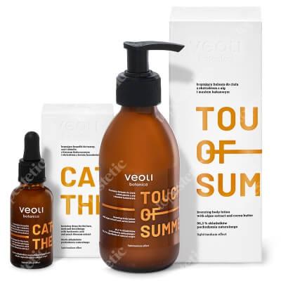 Veoli Botanica Catch The Sun + Touch Of Summer ZESTAW Brązujące kropelki do twarzy, szyi i dekoltu 30 ml + Brązujący balsam do ciała z ekstraktem z alg i masłem kakaowym 195 ml