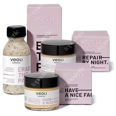 Veoli Botanica Have A Nice Face + Repair By Night + Erase The Past ZESTAW Krem do twarzy na dzień 60 ml + Krem do twarzy na noc 60 ml + Wygładzający peeling do twarzy 90 ml