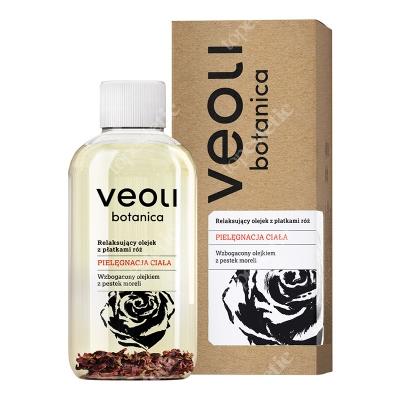 Veoli Botanica Relaksujący olejek do ciała, z płatkami róż Wzbogacony olejkiem z pestek moreli 150 ml