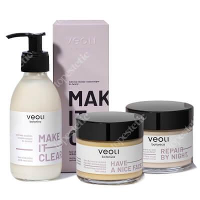 Veoli Botanica Ritual Box - Beauty Must Haves ZESTAW Mleczna emulsja oczyszczająca do twarzy 200 ml + Krem do twarzy na dzień 60 ml + Krem do twarzy na noc 60 ml