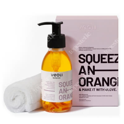 Veoli Botanica Squeeze An Orange And Make It At Glove Olejek 2w1 do demakijażu i masażu twarzy z pomarańczą 133,7+ ręcznik gratis 1 szt