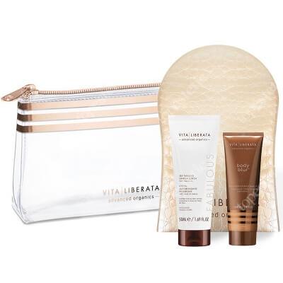 Vita Liberata Beauty To Go Kit ZESTAW Bronzer do ciała - kolor Latte 30 ml + Balsam stopniowo samoopalający 50 ml + Bardzo miękka rękawiczka do aplikacji