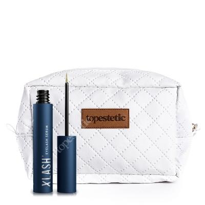 Xlash Xlash Eyelash serum + Kosmetyczka ZESTAW Odżywka wspomagająca wzrost rzęs 3 ml + Biała, pikowana kosmetyczka