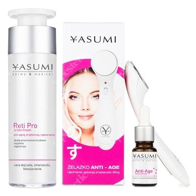 Yasumi Anti Age Platinum ZESTAW Krem z retinolem 50 ml + Serum z kwasem ferulowym i wit. C 10 ml + Żelazko do zmarszczek 1 szt.