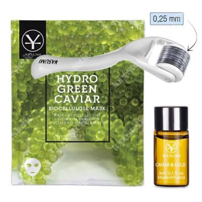 Yasumi Caviar Set + Roller ZESTAW Ampułka Caviar & Gold 3 ml + Nawilżająca maska biocelulozowa 25 g + Roller do twarzy 0,25 mm