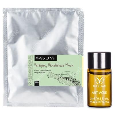Yasumi Cleanup Set ZESTAW Ampułka przeciwtrądzikowa 3 ml + Maska biocelulozowa oczyszczająca 8 ml