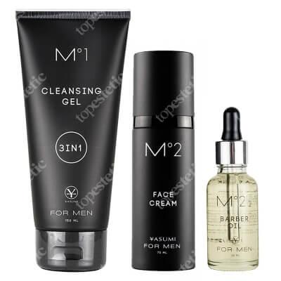 Yasumi Men BOX ZESTAW Naturalny olejek do pielęgnacji brody i wąsów 30 ml + Wielozadaniowy żel oczyszczający 150 ml + Łagodzący kremo-żel po goleniu 75 ml