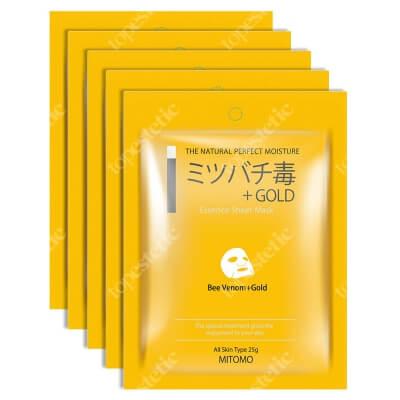 Yasumi Mitomo Bee Venom + Gold Essence Mask Japońska maska do twarzy w płachcie z jadem pszczelim i złotem 5 szt