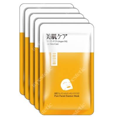 Yasumi Mitomo Premium Pure Face Mask Japońska maska do twarzy w płachcie z olejem arganowym i ekstraktem z kwiatu wiśni japońskiej 5 szt