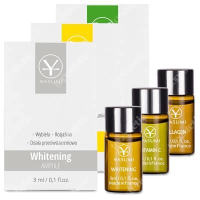 Yasumi Vitamin C + Whitening + Marine Collagen ZESTAW Ampułka z witaminą C 3 ml + Ampułka na przebarwienia 3 ml + Ampułka z kolagenem 3 ml