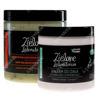 Zielone Laboratorium Balsam do Ciała Ujędrniająco-Wzmacniający + Peeling do ciała oczyszczająco-detoksykujący ZESTAW Body Complex 250 ml + Peeling rozmaryn i pietruszka 350 g
