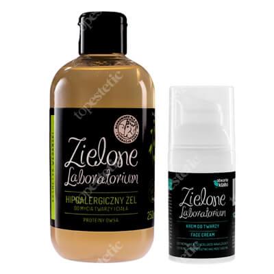 Zielone Laboratorium Krem do twarzy + Hipoalergiczny Żel Do Mycia Twarzy i Ciała ZESTAW Krem regenerująco-nawilżający 30 ml + Żel proteiny owsa 250 ml