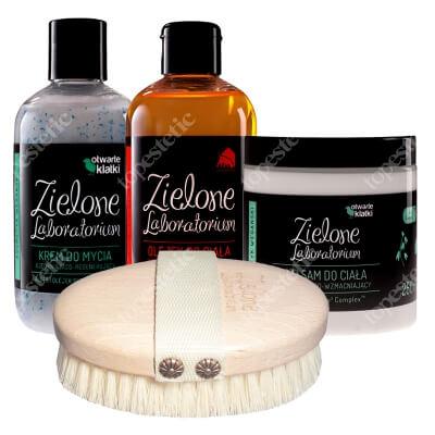 Zielone Laboratorium Zestaw Zdrowe Zielone Ujędrnianie ZESTAW Balsam 250 ml + Krem do mycia 250 ml + Olejek 250 ml + Szczotka do masażu 1 szt