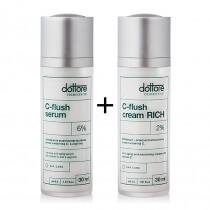 Dottore Duetto Perfecto Uno - C-flush Serum + C-flush Cream Rich 2 % ZESTAW intensywnie przeciwzmarszczkowy serum + krem z witaminą C 30 ml, 30 ml