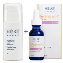 Obagi Hydrate + C Serum 20% ZESTAW Długotrwale nawilżający krem 48 g + Serum w formie kwasu L-askorbinowego 30 ml