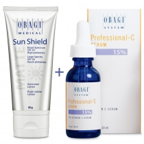 Obagi Sun Shield + C Serum 15% ZESTAW Krem chroniący przed promieniowaniem słonecznym UVA i UVB 85 g + Serum w formie kwasu L-askorbinowego 30 ml