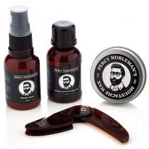 Percy Nobleman Grooming Kit ZESTAW Beard Wash, Beard Conditioning Oil, Moustache Wax, Grzebień
