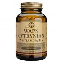 Solgar Wapń z witaminą D3 W postaci cytrynianu zapewniającego lepszą wchłanialność 60 tabletek
