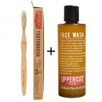 Uppercut Deluxe Face Wash + Toothbrush ZESTAW Pielęgnujący do twarzy