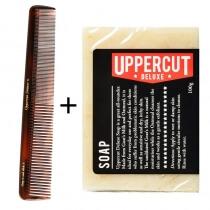 Uppercut Deluxe Soap + Tortoise Shell ZESTAW Mydło i grzebień do włosów