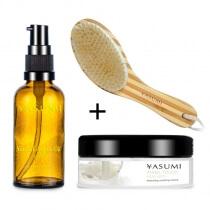 Yasumi Argan Oil + Milky Bath + Bamboo Brush ZESTAW Naturalny olejek arganowy 50 ml + Mleko do kąpieli 200 g + Szczotka bambusowa